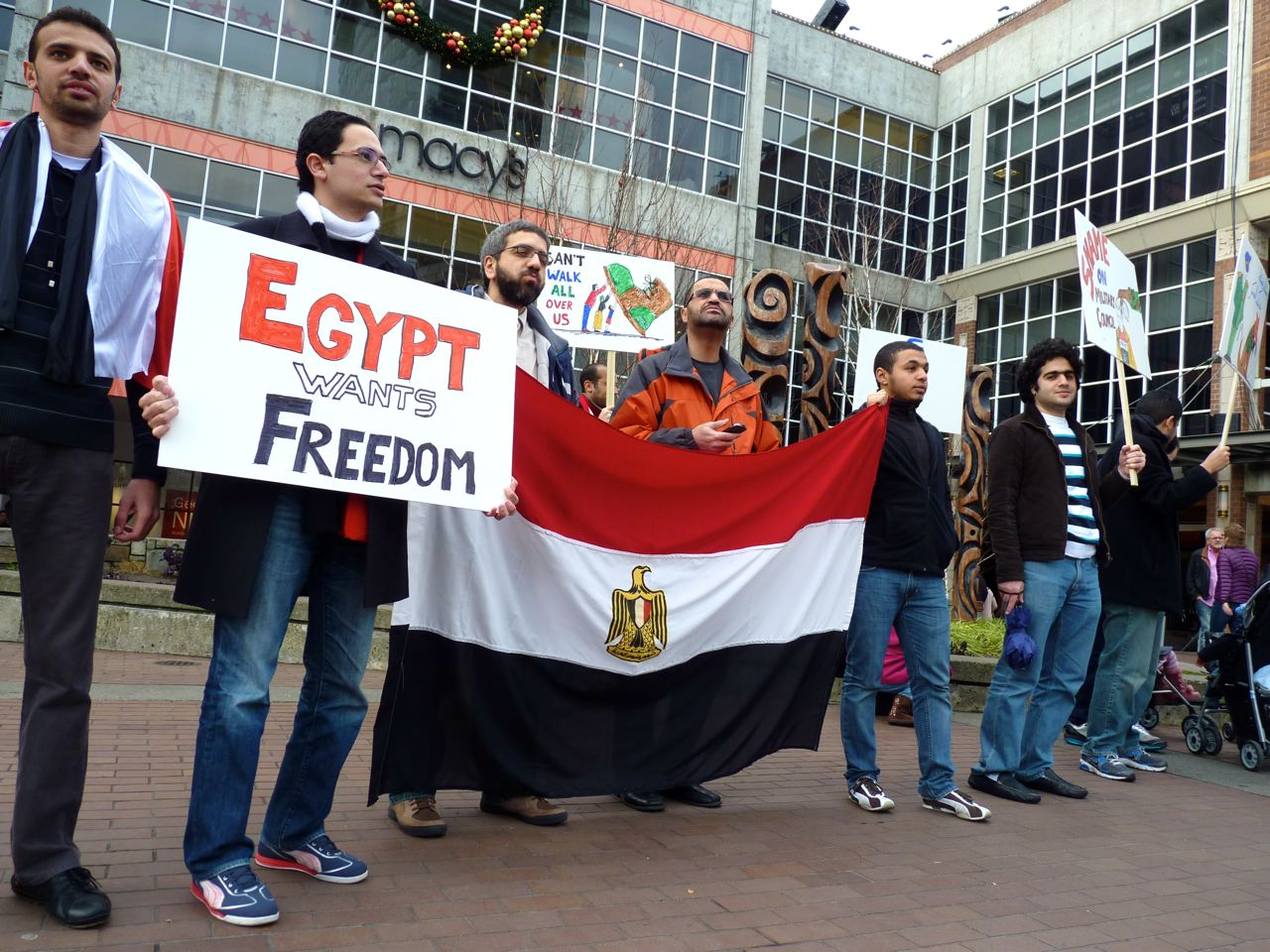 Egyptian-Americans protested at Bellevue Square Mall last month.