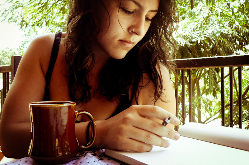 The author settles down with a cup of coffee
