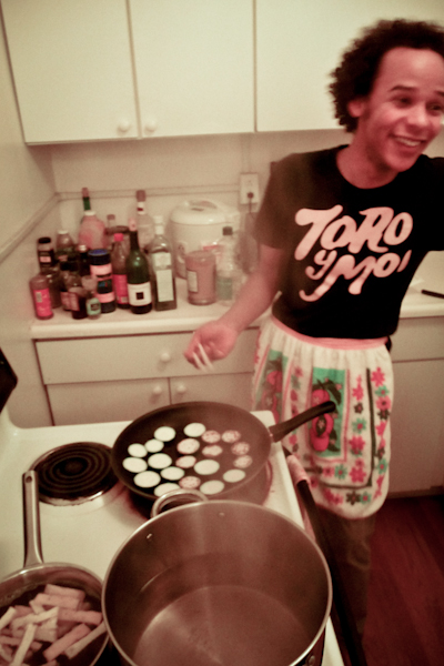 Chris Shaw sautés the eggplant for Obayashi Sam's Natto Pasta