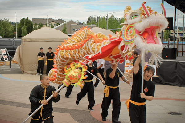 The Mak Fai Washington Kung Fu Club performed a traditional dragon and lion dance, followed by a Kung Fu demonstration, during this year's Kent International Festival. Twenty-five performance groups took the stage throughout the event. (Photo by Allison Int-Hout)