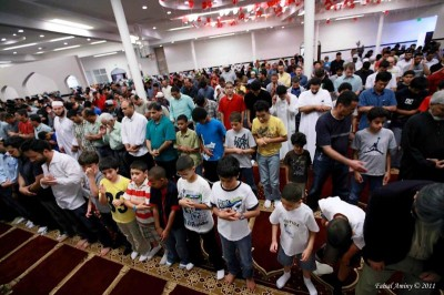 The Muslim Association of Puget Sound Mosque in Redmond is packed for prayers on one of the final evenings of Ramadan (Photo by Faisal Aminy/Ammana Photos)