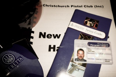 Handbooks, licenses and safety equipment required for gun ownership in New Zealand (Photo by Brian Norton)