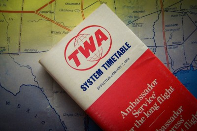 vintage TWA airline timetable