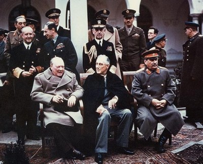 The wartime Yalta Conference with Winston Churchill, Franklin Roosevelt and Joseph Stalin in 1945.