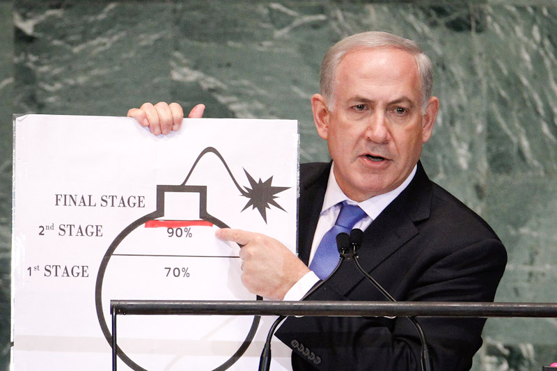 Israeli Prime Minister Netanyahu Israel's Prime Minister Benjamin Netanyahu used graphic of a bomb as he addressed the UN about the threat of nuclear weapons in Iran last week. (Photo from REUTERS/Lucas Jackson)