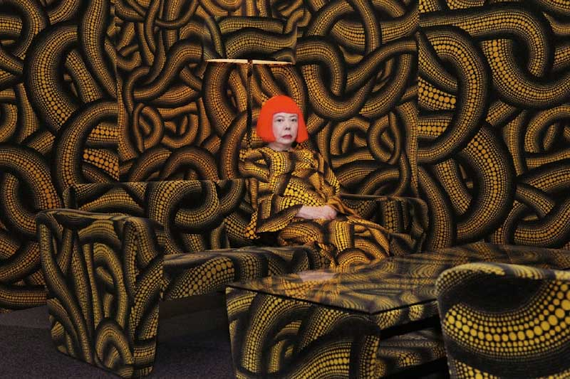 Japanese artist Yaoyi Kusama hallucinatory work is featured in the Elles: SAM exhibit. (Yoyi Kusama, Yellow tree/Living Room, 2010, seen at Aichi Triennale at Nayabashi Venue)