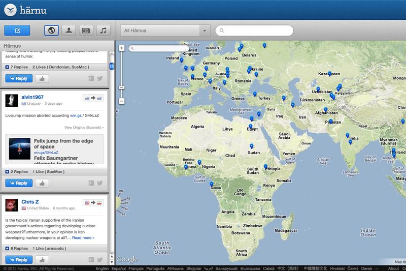 A screenshot of Harnu's map interface.