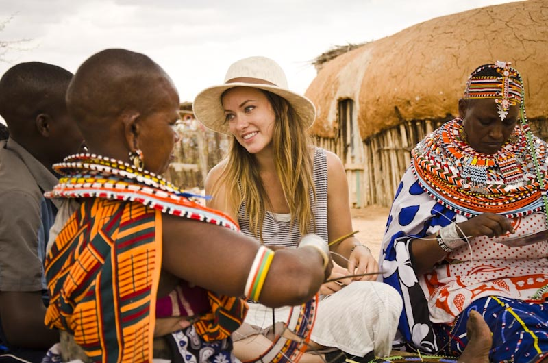 Actress Olivia Wilde hangs at the Umoja Women's Village in Kenya as part of Half the Sky. (Photo via Jessica Chermayeff/PBS)