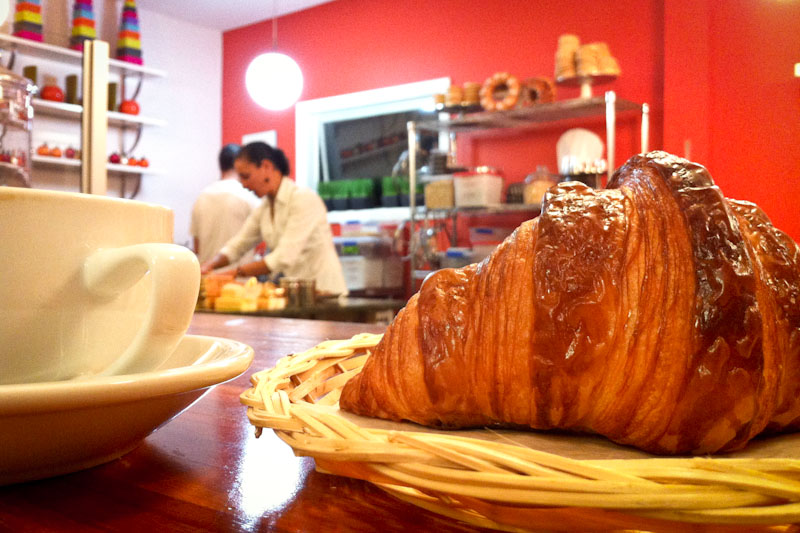 A croissant and coffee at Ines Patisserie in Madison Valley (Photo by Sarah Stuteville)