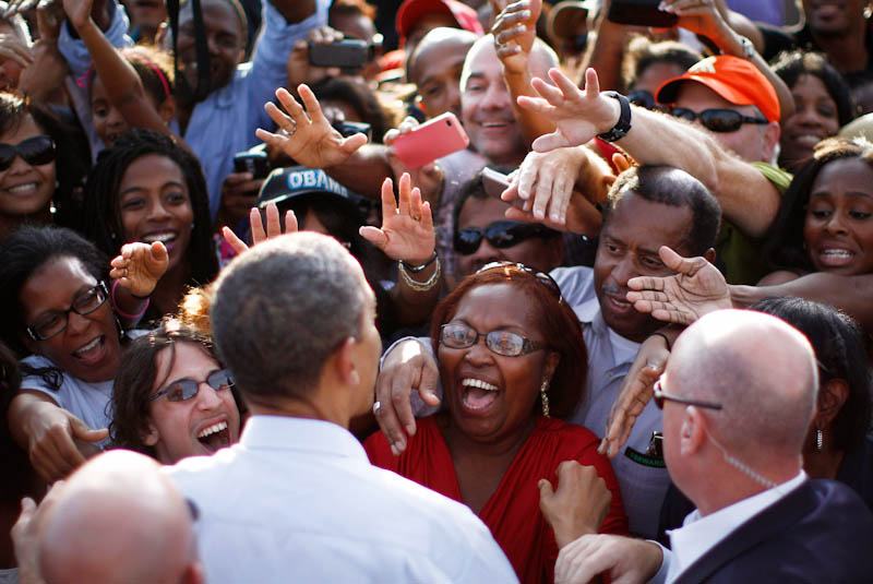 President Obama meets enthusiastic supporters during a campaign rally in Florida last weekend. (Photo from REUTERS/Jason Reed)