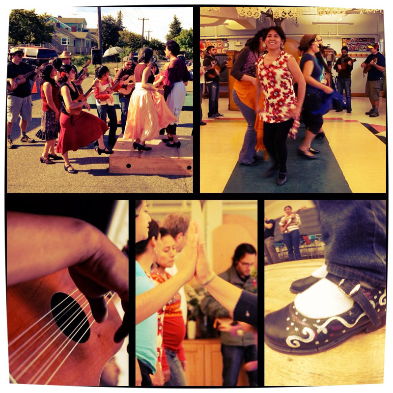 A montage of action at various recent Seattle Fandango Project events. (Photos by Scott Macklin)