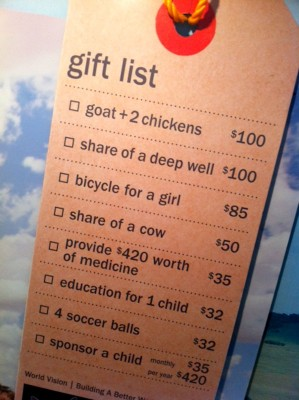 What your donation will buy for a sponsor in the developing world. (Photo by Alex Stonehill)