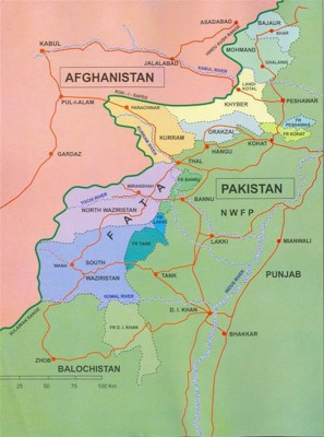 The Federally Administered Tribal Areas are a semi-autonomous region of Pakistan inhabited by Pashtun tribes and known as a safe haven for Taliban militants. (Map by Hbtila)