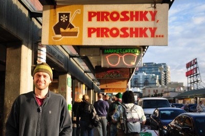Oliver Kotelnikov outside the Pike Place Market bakery that made piroshkies famous in Seattle. (Photo by Yvonne Rogell)