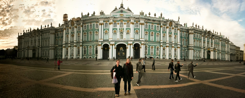 Generation Putin producers Jessica Partnow and Sarah Stuteville in front of the Hermitage museum in St. Petersberg. (Photo by Alex Stonehill)