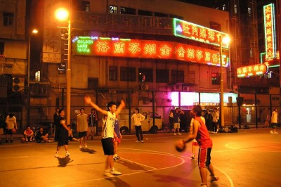 A late night game of street ball in Hong Kong (Photo by Marcus Hansson)
