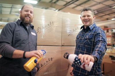 Frustrated with the outsourcing of American manufacturing jobs, Ryan Clark and Tim Andis founded Liberty Bottleworks. The company makes recycled aluminum bottles locally using mostly US machinery, materials and labor. (Photo by Alex Stonehill)