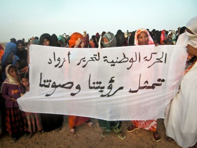 "Women in Timbuktu protest control of their city by Islamist group Ansar Dine. (Photo via  <a href=""http://www.magharebia.com/cocoon/awi/xhtml1/en_GB/homepage/""> magharebia.com</a>)"
