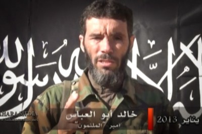 Mokhtar Belmokhtar, in a still from a video where he claimed responsibility for the attack on a natural gas facility in Algeria that resulted in 37 foreign workers. (Photo via Sahara media)