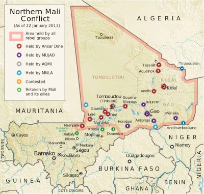 A map of conflict in Northern Mali, marking cities held by different Tuareg and Islamist groups. (From Wikipedia by Orionist)