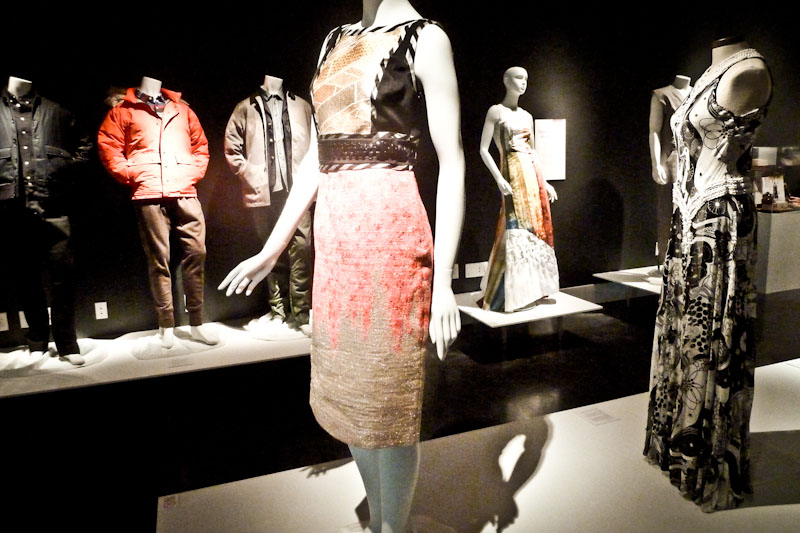 Designs from Maiden Noir, Trina Turk, Chrissy Wai-Ching and Naeem Khan (left to right). (Courtesy of Wing Luke)
