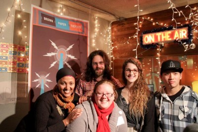 From left: Rahwa Habte of OneAmerica, Forrest Baum of Hollow Earth Radio, Sabrina Roach of Brown Paper Tickets, and Ellen McCleerey and Paul Kim from UW Bothell. (Photo by Harmony Gonty)