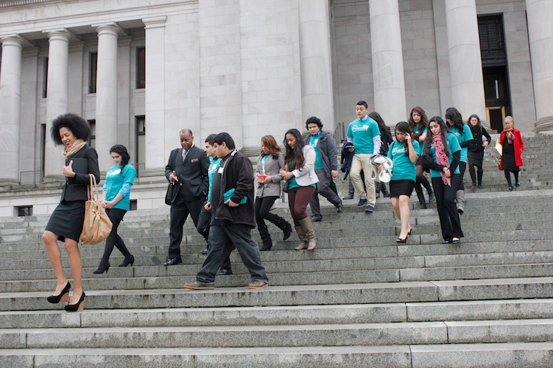 Youth participants with OneAmerica descend the capitol steps after a morning rally. (Photo by Brooklyn Carlson)
