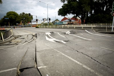 Earthquake damaged roads in Christchurch. (Photo courtesy Christchurch City Council)