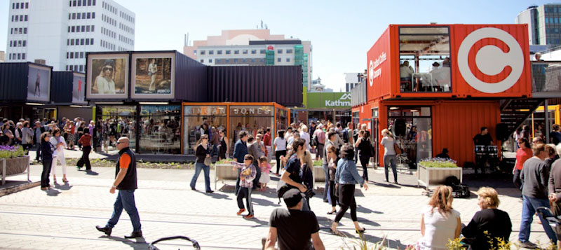A Christchurch shopping area destroyed by the earthquake was quickly reconstructed using repurposed shipping containers. (Photo courtesy Christchurch City Council)