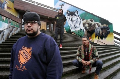 Filmmakers Lane Stevens, left, Dave Wilson and Gyasi Ross are part of the Idle No More indigenous-protest movement. (Photo by Alan Berner/Seattle Times).