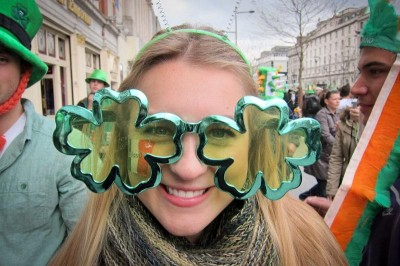 The author rocks appropriate St. Patrick's Day regalia in Dublin last year. (Photo by Anna Chatilo)