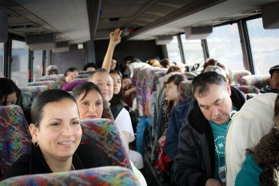 The Keeping Washington Families Together tour bus heads from Wenatchee to Yakima. (Photo courtesy OneAmerica)