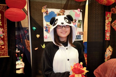 A Chinese international student sports a Panda costume while representing her country at the 2013 FIUTS CultureFest. (Photo by Valeria Koulikova)