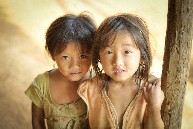 Girls in a hilltribe village outside Luang Prabang, Laos. (Photo by Marat Garafutdinov)