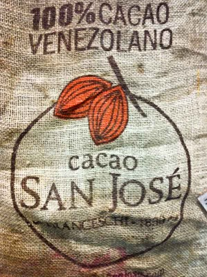 A burlap bag used to ship cacao beans to Seattle from Venezuela. Cacao requires a hot, humid climate to grow in so it can't be sourced locally. (Photo by Sarah Stuteville)