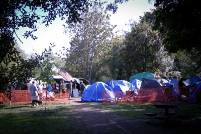 Nickelsville, Seattle's long-running unsanctioned tent city, at T-107 Park on the Duwamish Waterway. (Photo by Joe Mabel)