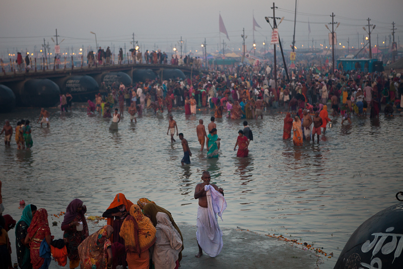 Hindu pilgrims bathe in the confluence of the Yamuna, Ganges and Saraswati rivers on Feb. 10, 2013 in Allahabad, India. (Photo by Ian Terry)