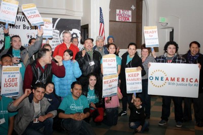 Wenatchee Mayor Frank Kuntz (in red), turned out for the Wenatchee rally. (Photo courtesy of OneAmerica)