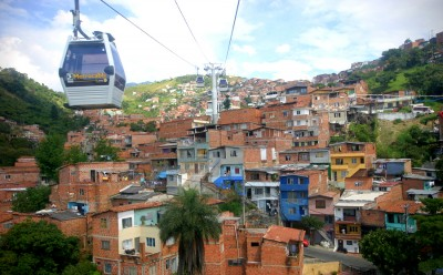 A metrocable car in Medellin, Colombia connects slum residents to the rest of the city. (Photo via Flickr by Squiggle)