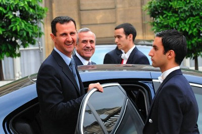 Syrian President Bashar al-Assad on a state visit to Paris in 2008. Since the civil war broke out, Assad has become an international pariah. (Photo by  Amar Abd Rabbo)