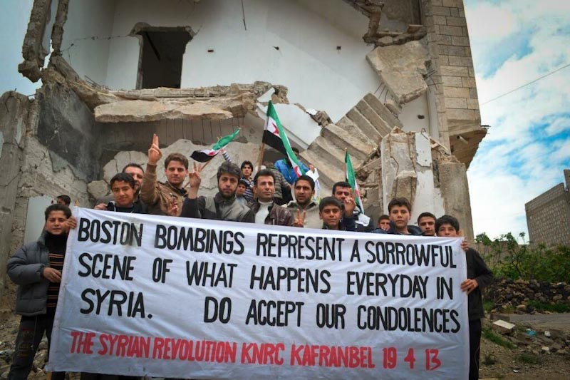 Syrians express their condolences to Boston.