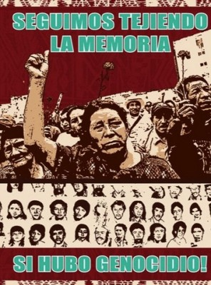 A poster showing solidarity with indigenous Guatemalans who were plaintiffs in the trial against Ríos Montt. (Photo by  dignidadrebelde )