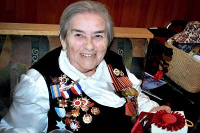 Buzya Shapovalova, now 88 years old, at the Victory Day celebration last Thursday. (Photo by Valeria Koulikova)