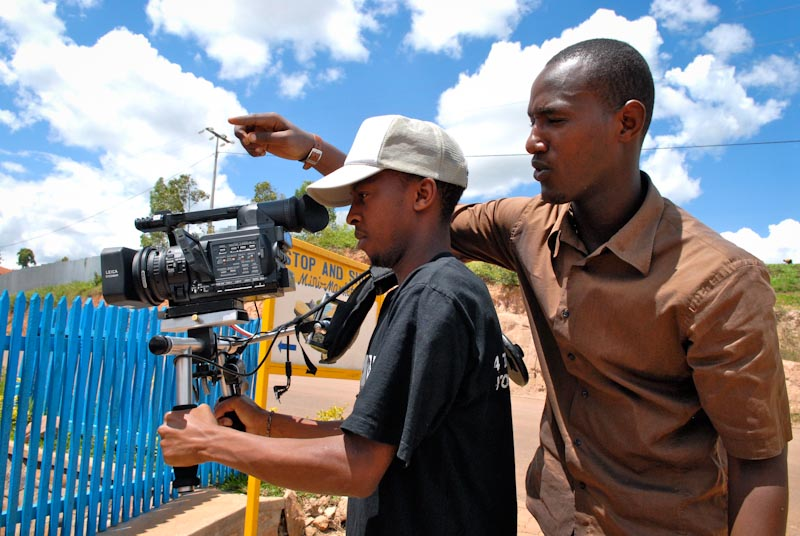 "Rwandan filmmakers--and ""Finding Hillywood"" interns--Richmond Runanira and Christian Bishika on set. March 2008. (Photo courtesy of Leah Warshawski)"