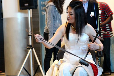 Lucy Wu of Nanjing, China, represents Seattle Sister City Chongqing, China with her musical performance by playing the jinghu, a two-stringed Chinese-style fiddle at the 17 Annual Seattle Sister Cities reception. (Photo by Christian Zerbel)