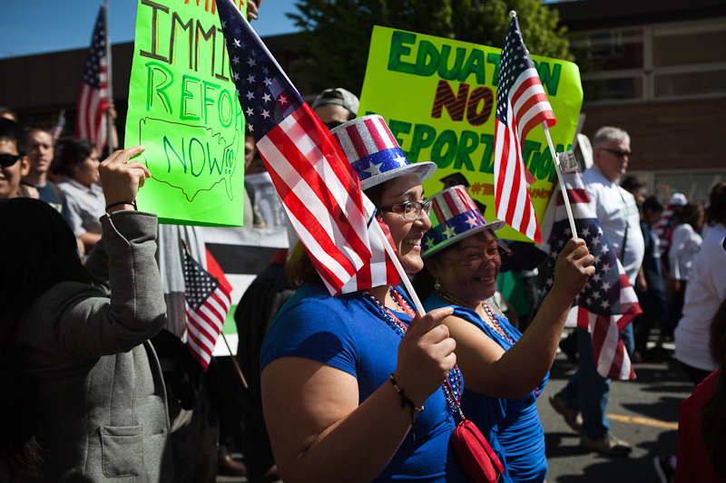 Protesters walk during the immigration reform march. (Photo by Ian Terry)