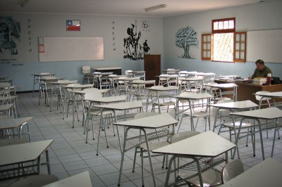 An empty classroom in Santiago, Chile. (Photo by  Ryan Greenberg )