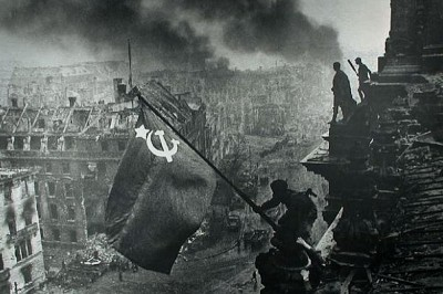 The Soviet flag is placed upon the Reighstag, Berlin on May 9, 1945