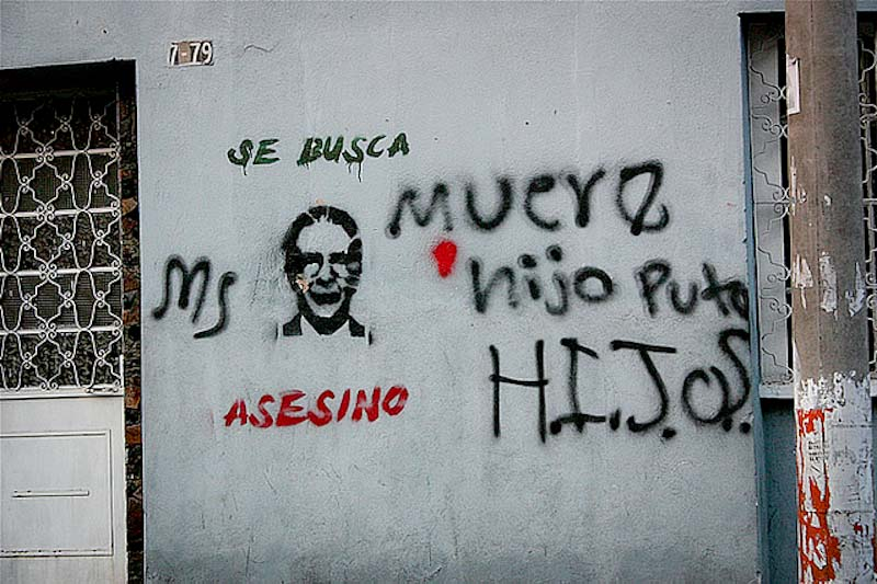 "Graffiti in Guatemala by the youth group HIJOS calling Rios Montt an ""assassin."" (Photo by Surizar )"