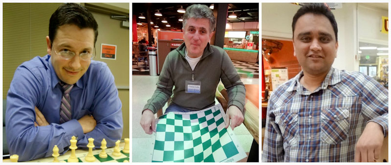 (From left) Chess4Life founder Elliott Neff and coaches Hristo Arabadjiev and Anand Mehta believe chess is the universal language. (Photos by Ilona Idlis)